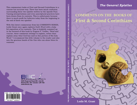 COMMENTS ON THE BOOKS OF FIRST & SECOND CORINTHIANS - L.M. GRANT