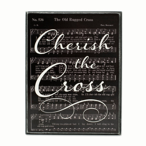 BOX SIGN - CHERISH THE CROSS