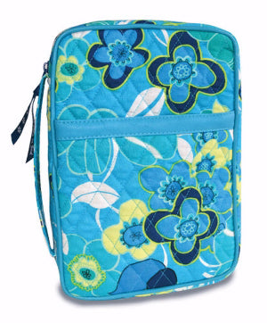 BIBLE CASE - QUILTED BLUE BLOSSOMS MD