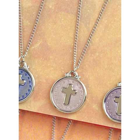 NECKLACE - SILVER PLATED -  FAITH & LOVE - PINK/CROSS