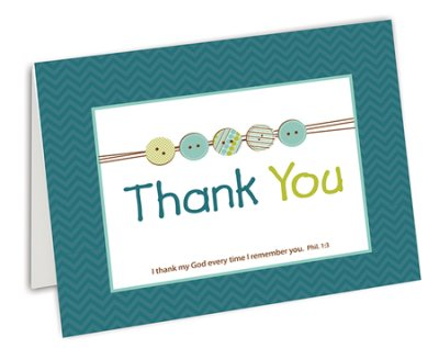 CARDS - THANK YOU BUTTONS GREEN