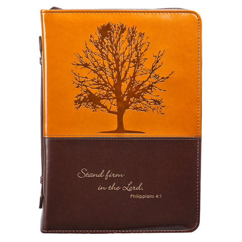 BIBLE CASE - LUXLEA  PHIL 4:1 - 2TONE BROWN - MD