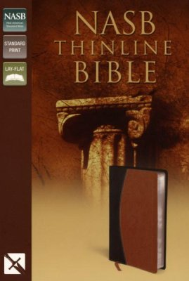 NASB THINLINE BIBLE BLACK/TAN BONDED LEATHER