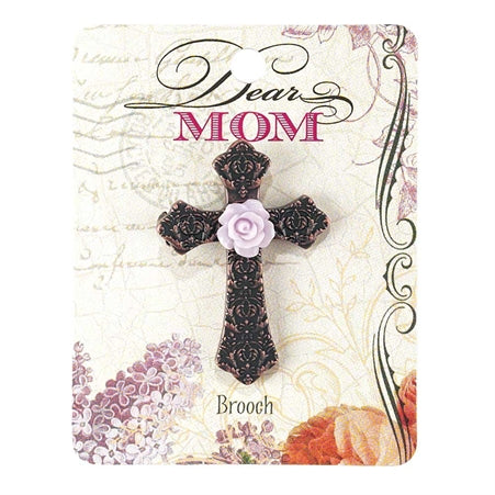 BROOCH - MOM CROSS W/FLOWER
