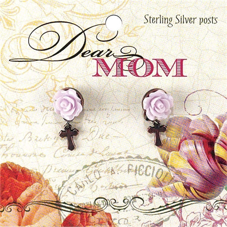 EARRINGS - MOM CROSS W/FLOWER
