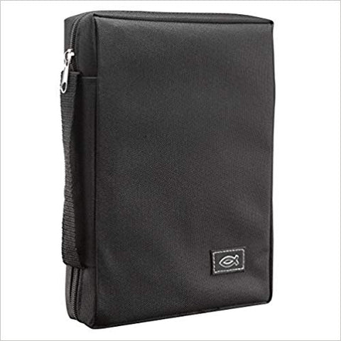 BIBLE CASE - POLYESTER BLACK - FISH - MD
