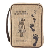 BIBLE CASE - JUTE- FOOTPRINTS TAN/BRWN TL