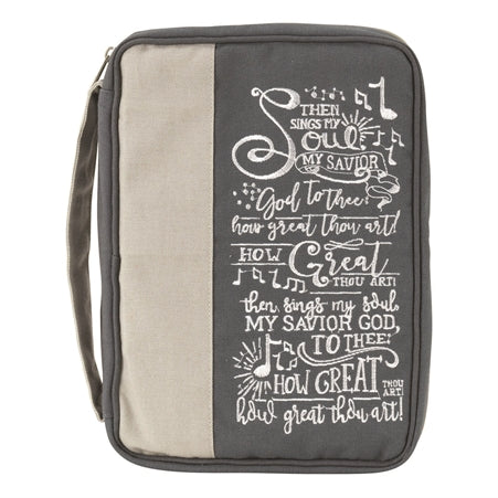 BIBLE CASE - JUTE - THEN SINGS MY SOUL GREEN LG