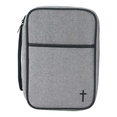 BIBLE CASE - GRAY/BLK CROSS LG