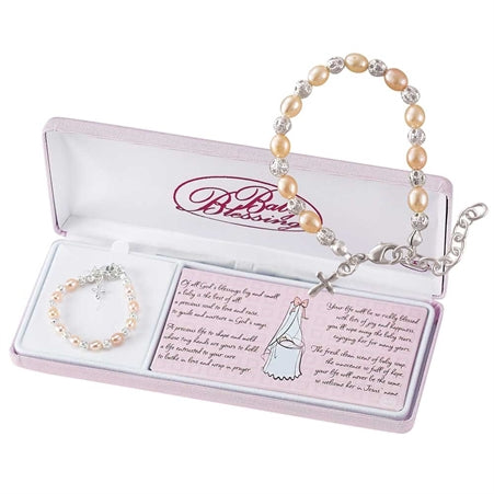 BABY BRACELET - SILVER PLATED - PEARLS/BEADS