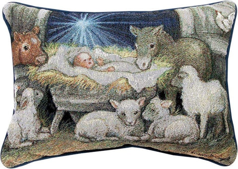 PILLOW - NATIVITY SHEEP & BARN