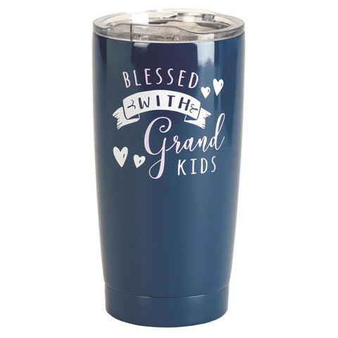 TUMBLER - BLESSED WITH GRANDKIDS - NAVY