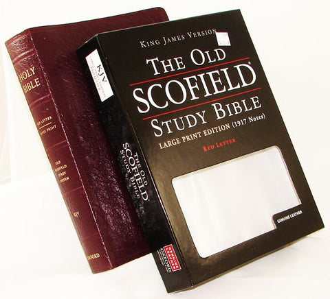 THE OLD SCOFIELD STUDY BIBLE LARGE PRINT EDITION - Burgundy - Genuine Leather - Thumb Indexed