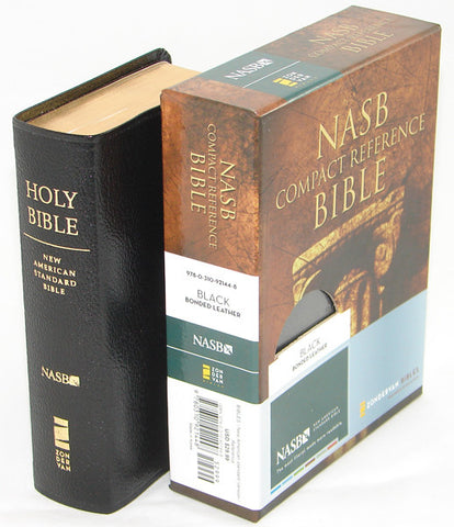 NASB COMPACT REF. BIBLE BLACK/BONDED LEATHER