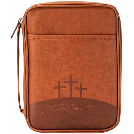 BIBLE CASE - GREATER LOVE BRWN/LG