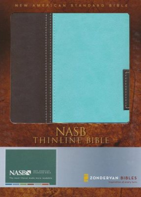 NASB THINLINE BIBLE CHOC/TURQ BONDED LEATHER