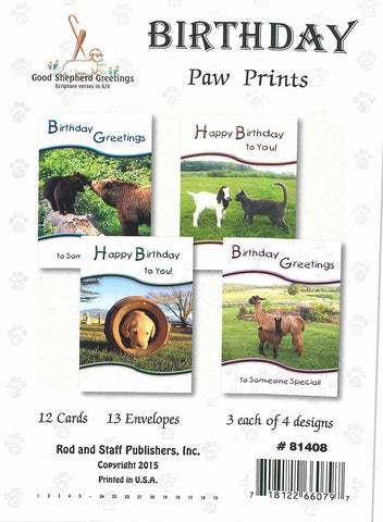 BOXED CARD - BD - PAW PRINTS