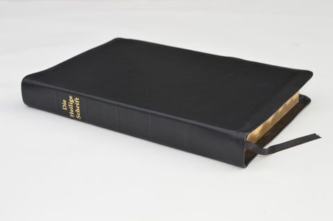 GERMAN BIBLE LARGE GENUINE LEATHER BLACK PROTECTION FLAPS