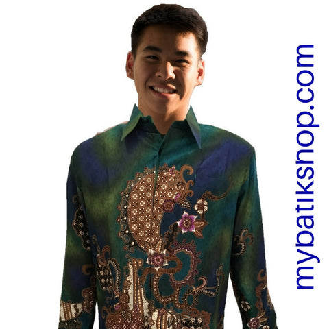 Batik for Men Semi Silk Long-sleeve Green Multi
