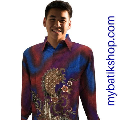 Batik for Men Semi Silk Long-sleeve Purple Multi