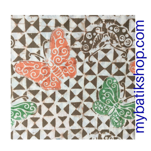 Batik Fabric Hand-stamped Hand-blotted Butterfly