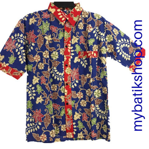 Batik for Men Solid Red and Blue Flower Print