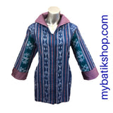 Tenun Blue Purple Long-sleeves Blazer with Snapped Buttons