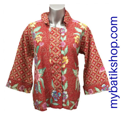 Blazer for Misses Batik Doby Embossed Red Pink