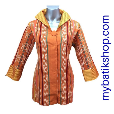 Tenun Orange Brown Long-sleeves Blazer with One Button
