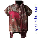 Batik High Low Silky Top and Scarf Set - Rose