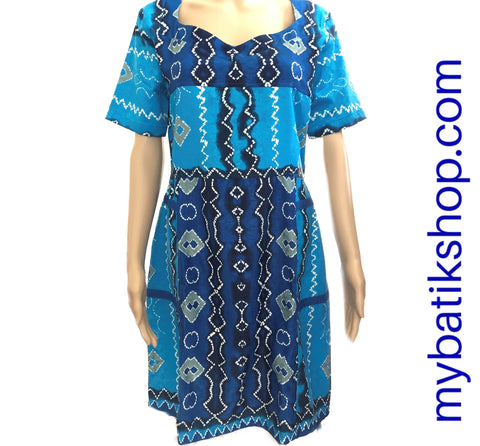 Fine Short-sleeves Embossed Soft Batik Blue Dress