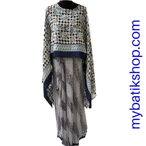 Two-piece Paris Modern Sarong Dress Butterfly Blue