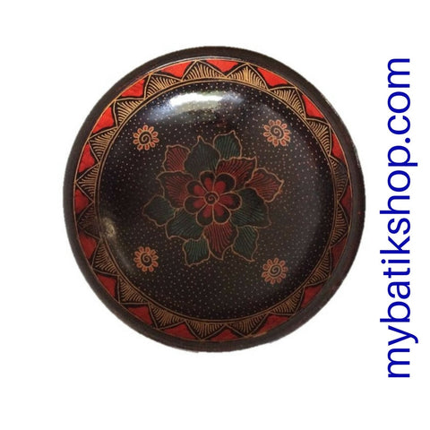Batik Wooden Decorative Medium Round Bowl