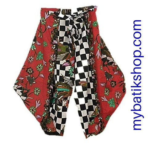 Aladdin Style Batik Coulottes Red and Checkers