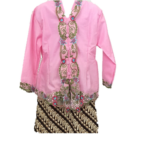 Kebaya for Girls -  Pink Embroidered Kebaya