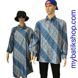 Couple Batik Blue Modern Parang - Blue