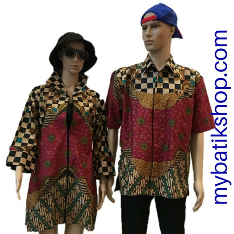 Couple Batik Cap Maroon Checkers