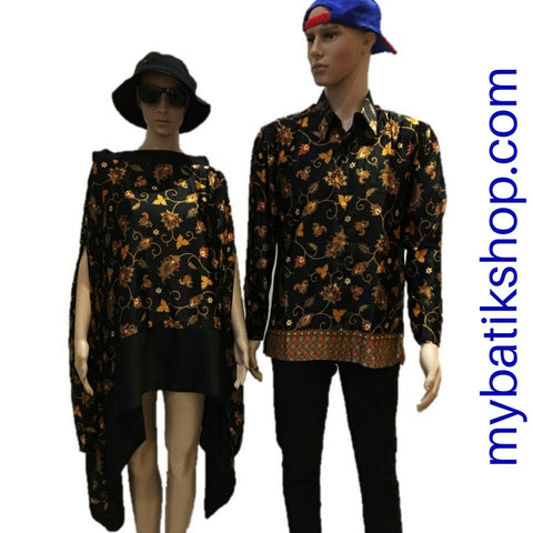 Batik for Couple Semi Silk Black and Gold