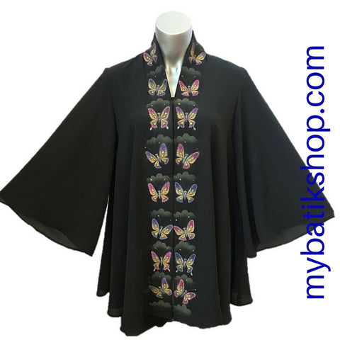 Handpainted Black Butterfly Kebaya