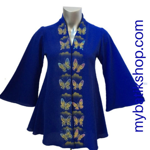 Handpainted Blue Butterfly Kebaya