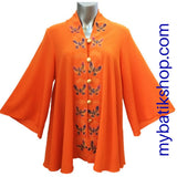 Handpainted Orange Butterfly Kebaya