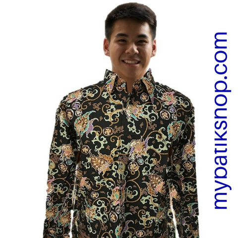 Batik for Men Green Black Long-sleeves
