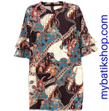 Stretched Batik 3/4-sleeves Dress