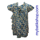 Family Batik - Girl Blue Cotton Print Side Fringes