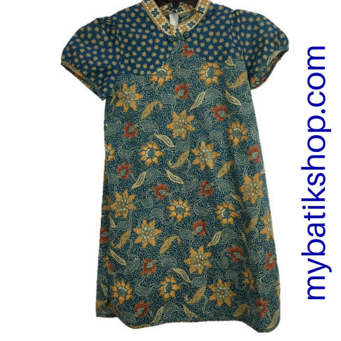 Batik for Girls Short-sleeve Green with Ciongsam Collar