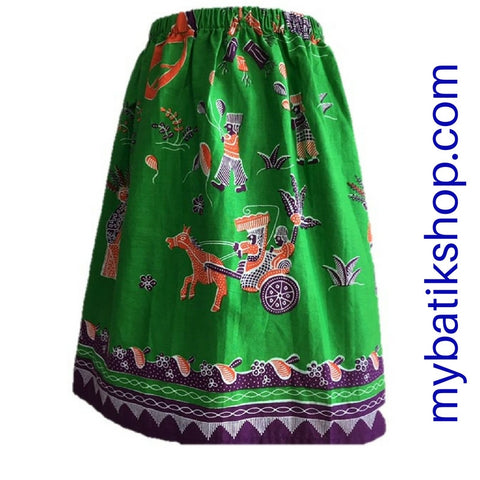 Batik for Girls - Voila Long Green Betawi Skirt