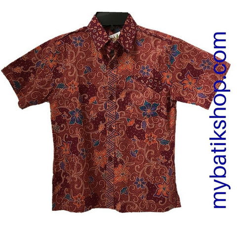 Batik Keris for Boys Red Flower Size 4