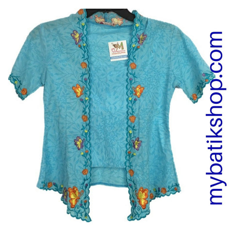 Kebaya for Girls - Voila Baby Blue Embroidered Kutubaru