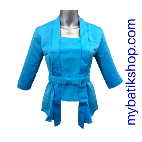 Kebaya Kutubaru Satin Blue with Bow Belt