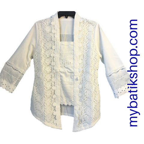 Kebaya Kutubaru Lace Ribbon White